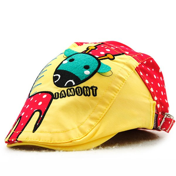 kids enfants spring summer cotton colorful cartoon animal Giraffe beret hats handsome lovely photo bonnet gorra visera for garcon boys ninos