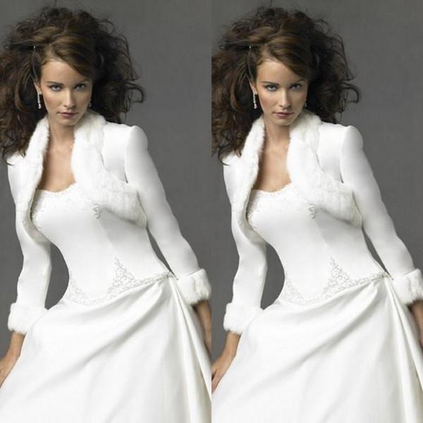 2018 Winter Bridal Wedding Bolero Jacekt Faux Fur Hemmed 3 / 4 Length Sleeves Women Bolero Shrug for Party Dresses Custom Made Size
