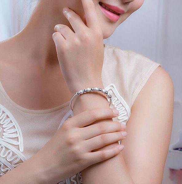 Beads Bracelets 925 Sterling Silver Bangles Women Charm White Gold Plated Wedding Bracelets Gift Jewelry Charm Bracelet Open Cuff Bangle
