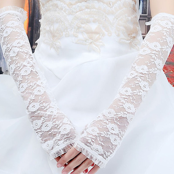 1Pair 2017 Women lace long gloves sexy black white lace fingerless gloves sun-protection driving for party Christmas gift