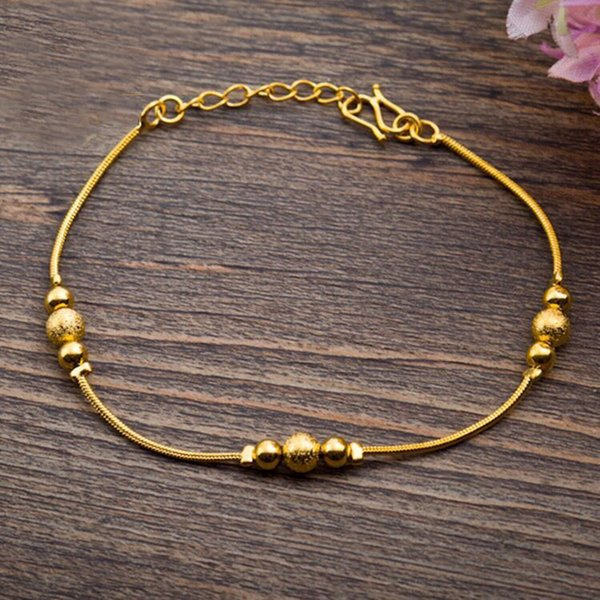 fashion link chain for women Small Snake Beads Bracelets Jewelry For Women Pure Gold Color Allergy Free