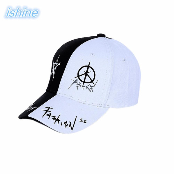 Outdoor Men Women Couple Sport Hat Black White Stitching Embroidery Baseball Cap
