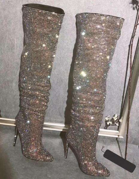 Sexy Glitter Strass gebohrt über Knie Stiefel Frauen Thin High Heel Stiefel Spitz Damen Bling Bling Crystal Oberschenkel