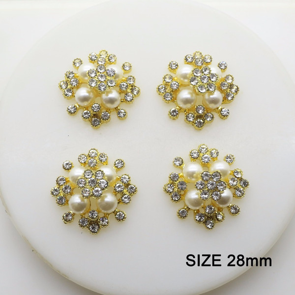 10 pcs/lot 28mm Pearl Rhinestone Gold Button Jewerly Metal Button Flatback Embellishment for Wedding Hair Ribbon Craft Decor