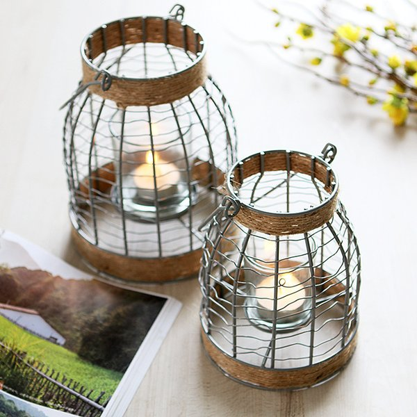 Rustic Metal Frame Candle Lantern with Winding Hemp Rope LOFT Hanging Candle Holder for Home Decor Bar Restaurant Garden Wedding