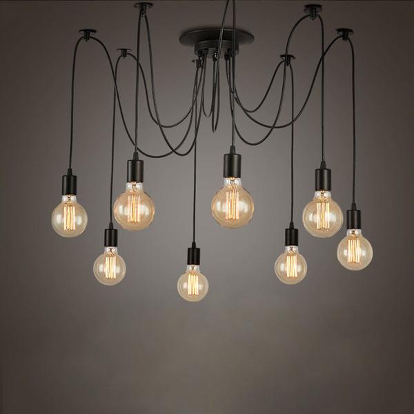 Retro Edison Bulb Light Chandelier Vintage Loft Adjustable Diy E27 Spider Ceiling Lamp Cafe Living Room Bar Fixture Light Pendant Lighting Kitchen