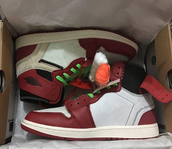 Nuevo con caja 1 rojo, negro, blanco, hombres, zapatos de baloncesto, zapatillas deportivas, zapatillas de deporte al por mayor, zapatillas de correr, al aire libre, tamaño 1s de calidad superior 7-12