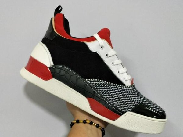 3999438d53ab Height increasing new Men Fashion Shoes Red Bottom Sneaker Luxury black  Genuine Leather Louisfalt Spikes Lace