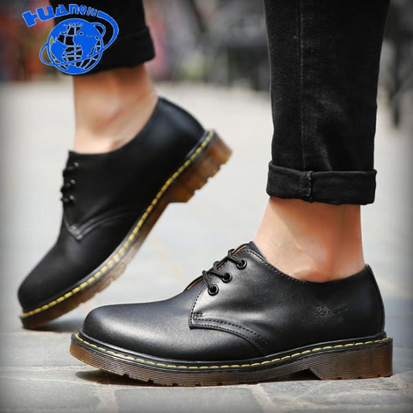 Huanqiu 2018 botas de couro casual mulheres negras botas s sapatos sapatos de segurança do trabalho plus size 35-45 zl152