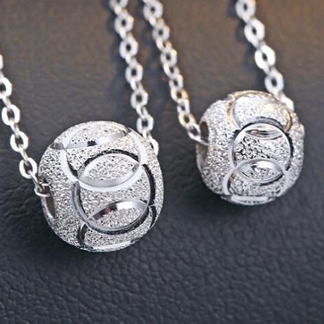 Authentic 925 Silver Jewelry Ball Pendants Necklaces DIY Chains Slide Fashion Casual Girl Friend Gifts Wholesales Cheap 9mm 8mm 1pc GOLDFEU