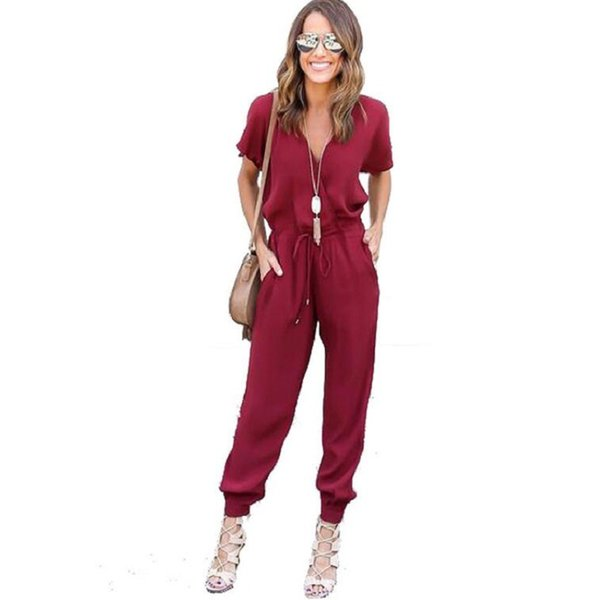 womens romper 2018 Summer Sexy V Neck Pleated Waist Pocket Rompers Women Jumpsuit Loose Cross Jumpsuits Short Sleeves Playsuit
