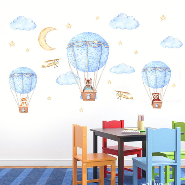 Cartoon Hot Air Balloon Wall Sticker Wallpaper Wall Picture Art Vintage Room Home Decor Kitchen Accessories Household Craft Suppllies