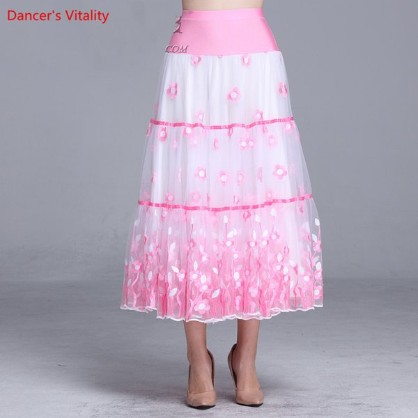 Lady Modern Dance Ruffled Big Hem Sequin Skirt Competition Performance Suit Women Rumba Samba Tango Ballroom National Standard Jazz Dancewea