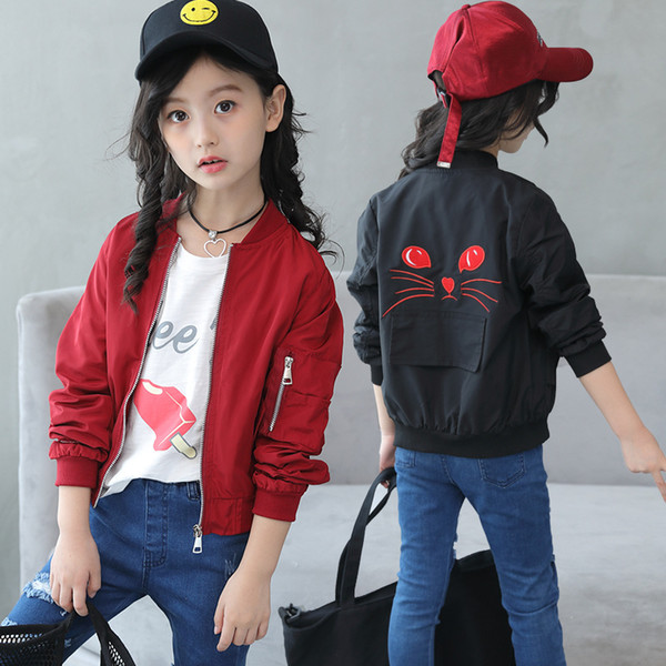 Girls Casual Coats for Kids Spring Cartoon Outerwear Children Sports Jackets Baby Girl Autumn Clothes Parkds Infantil