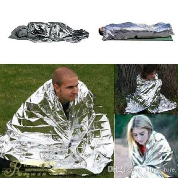 Wholesale-Emergency Survival Gear Rescue Space Silver Mylar Thermal Blankets Warm Wrap
