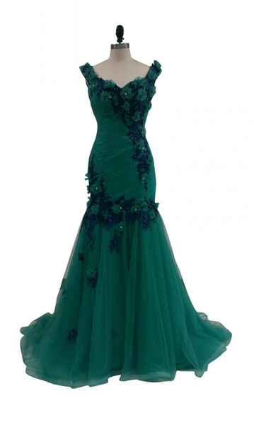 Cadmium Green Long Womam Evening Dresses 2017 Vintage V Neck Backless Pleat Flowers Beads Tulle Party Night Dress