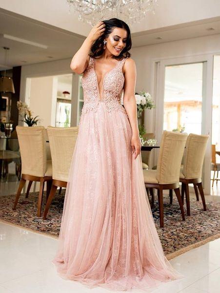 Light Pink Deep V-neck A Line Evening Dresses Sleeveless Beading Lace Draped Prom Gowns Tulle Floor Length vestidos de fiesta