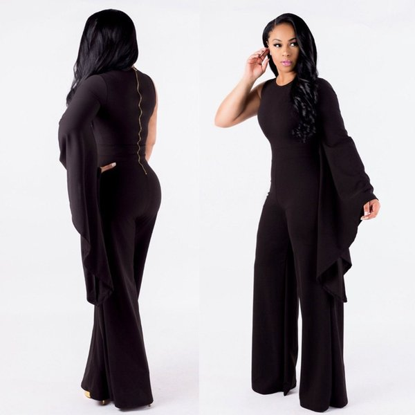 2018 jumpsuit womens rompers Jumpsuit Top Quality High Design Flare Sleeve Rompers Bodycon Festival Bodysuit
