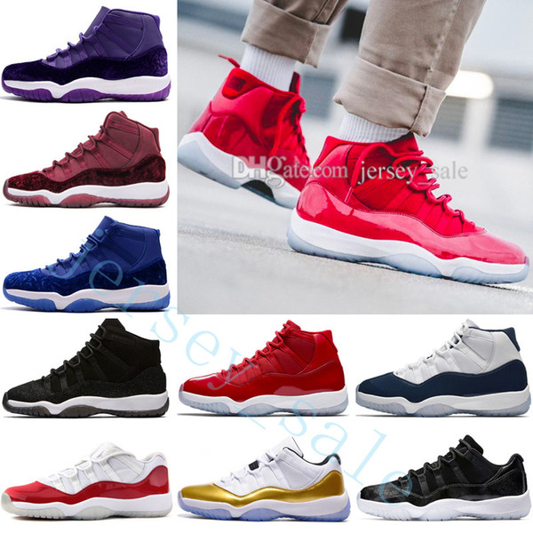 Cheap New 11 Mens basketball shoes High Gym Red Midnight Navy Win Like 82 96 Low Bred 72-10 Space Jam 45 Velvet Heiress 11S XI Sports Shoes