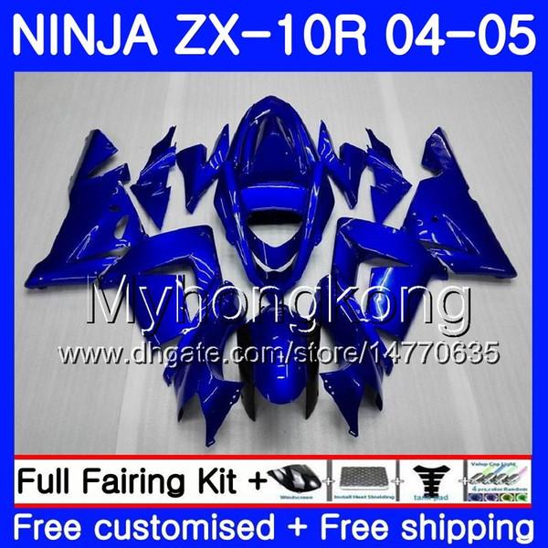 Body+Tank For KAWASAKI NINJA ZX1000 CC ZX 10 R ZX-10R 04 05 214HM.0 ZX10R 04 05 ZX 1000 1000CC ZX 10R 2004 2005 Fairings kit ALL Gloss blue
