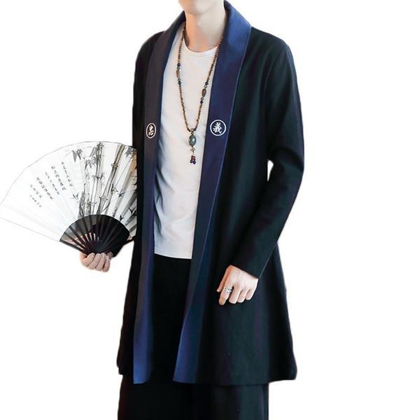 Зима ветровка мужчины китайский стиль вышивка пальто Chaqueta Larga Hombre китайский стиль мода зима шерсть мужчины большой размер 5XL