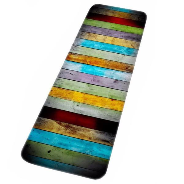 NOUVEAU Afordable Long paragraphe coloré bois imprime tapis de bain absorbant de l'eau pour salle de bain douche accessoires tapis de sol