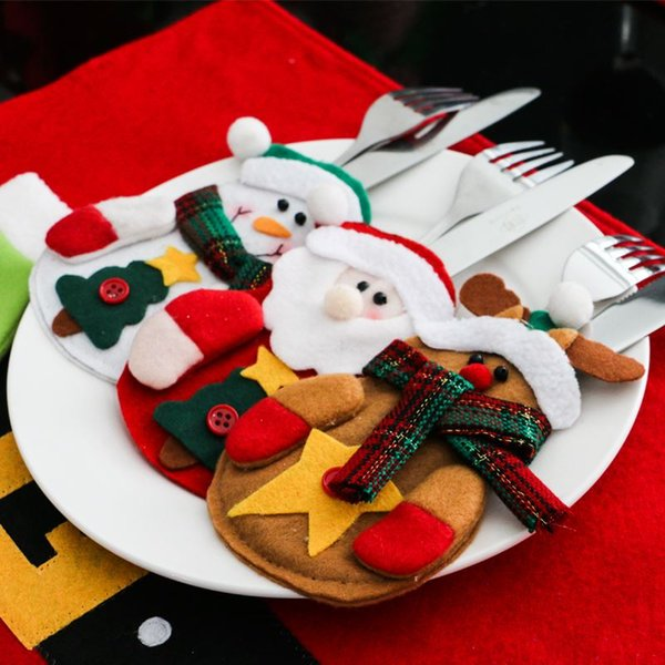 12pcs/set Snowman Santa Claus Elk Cutlery Suit Holders Pockets Knifes Forks Tableware Bags Christmas Dinner Table Home Decor
