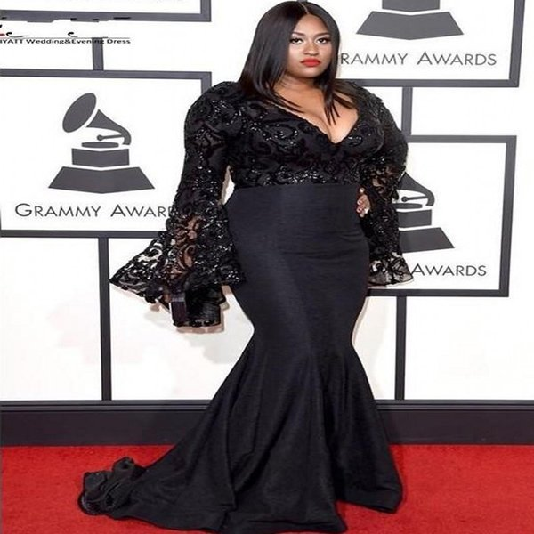 top popular Grammy Awards Plus Size Celebrity Evening Dresses Long Sleeves Jazmine Sullivan Sequins Prom Dress Black Lace Mermaid Sexy Gowns 2019