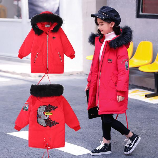 HOT enfants filles hiver doudoune avec grand col de fourrure filles chaudes rallonger manteau enfants fille outwear haute qualité hoodie vêtements de détail