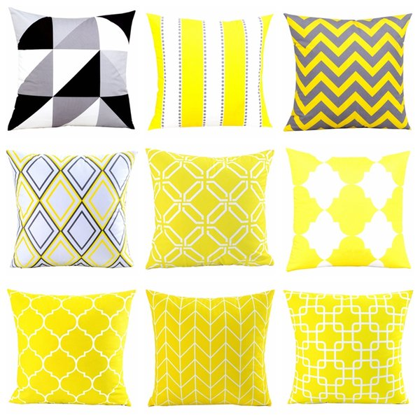 Wholesale Home Decor Velvet Pillow Cover Yellow Grey Geometric Cushion Cover For Sofa 45*45cm Decorative Pillows Sham