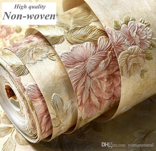 Avrupa Modern 3D Kabartmalı Duvar Kağıtları Çiçek Romantik Arkaplan Duvar Kağıdı Oturma Odası Yatak Odası Damasko Çiçek Duvar Kağıdı Rulo ...