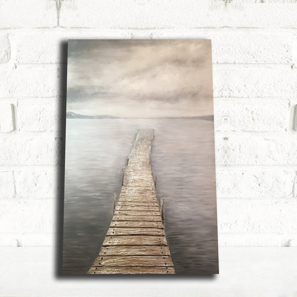 1 Piece Bridge Seaside Scenery Poster and Print Cloud Wall Art Canvas Painting Modern Nordic Art Wall Picture for Living Room No Framed
