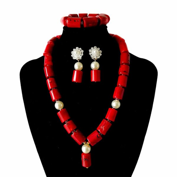 Red True Coral African Bridal Wedding Jewelry Sets Necklace Earring and Bracelet Jewelry Set Nigerian Jewelry Bead Set for Women