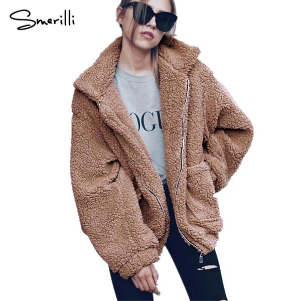 Verdicken Solide Größe Mantel Lose Herbst Von Winter Warm 2018 Harajuku Frauen Zipper Plüsch Jacke Tasche Mode Großhandel Plus Coat Yyfgb76v