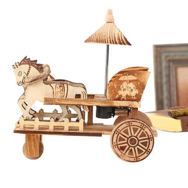 Wooden Carriage Handicrafts Figurines Home Decoration Antique Music Box Desktop Decor Wood Music Boxes Figurines