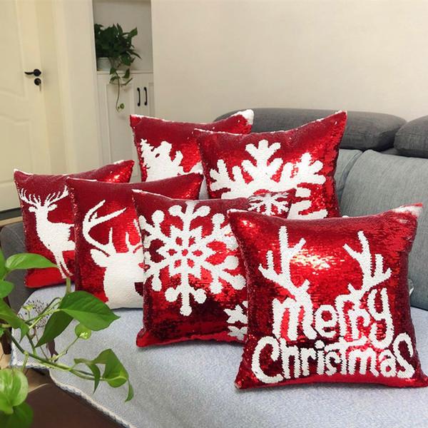 Christmas Glitter Mermaid Sequins Cushion Cover Throw Pillow Cover Decorative Sofa Home Chair Car Pillow Case