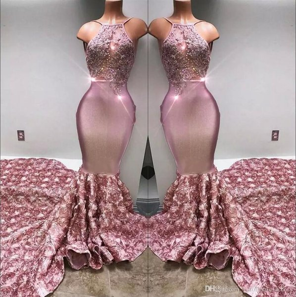 top popular 2020 Halter Satin Mermaid Long Prom Dresses 3d Rose Skirt Lace Applique Beaded Formal Party Evening Gowns Real Image BA7797 2020
