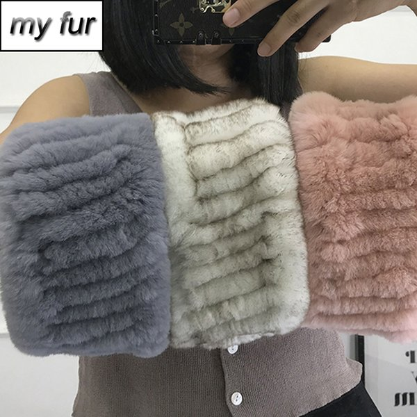 Hot sale Winter Women Fashion Real Fur Handmade Stretch Fur Scarf Knit Genuine Rex Rabbit Headbands Natural Ring Scarves