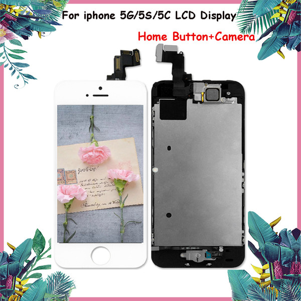 Full Set of LCD Display for iphone 5 5C LCD for iphone Part Assembly Replacement LCD with Home Button+Camera