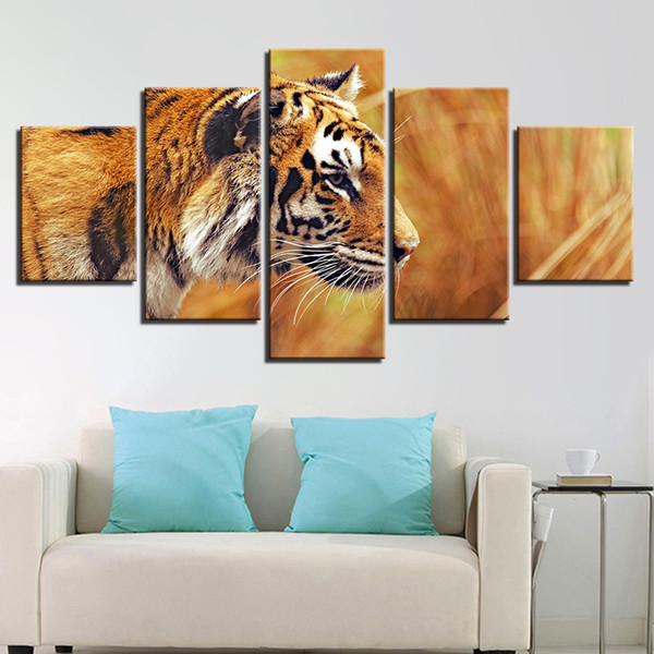 Art Pictures Decor Living Room Or Bedroom Wall HD Printed 5 Pieces Animal Tiger Canvas Painting Modular Poster Framework Artwork
