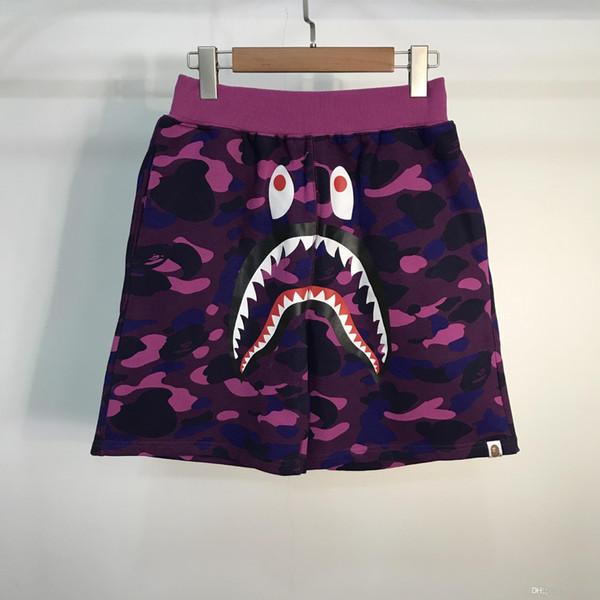 Wholesale Lover's Shark Camo Shorts Lover Cotton Camo Hip Hop Shorts Men Women Casual Camouflage Beach Shorts