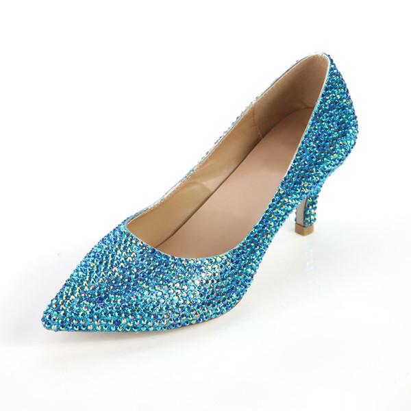 Avrupa Amerikan Mavi Renk Elmas Yüksek Topuklu Yeni Zarif Düğün Gece Kulübü Prenses Ayakkabı Moda Koyun Deri Ayakkabı 6 CM