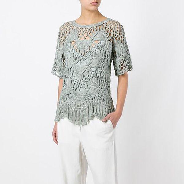 2019 Brand Designer Women Crochet Knitted Tops 2018 Summer Autumn