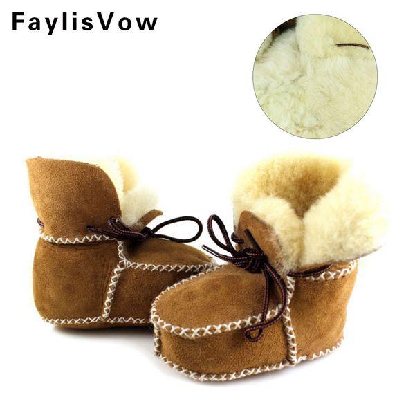 Winter Baby Boys Shoes Sheepskin Genuine Leather Boots Infants Warm Real Fur Wool First Walkers Newborn Girls Booties Sneakers