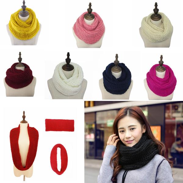 19 couleurs unisexe hiver wrap plaine chaude tricot cou cercle laine cowl snood longue écharpe tricoté châle Wraps parti faveur GGA822