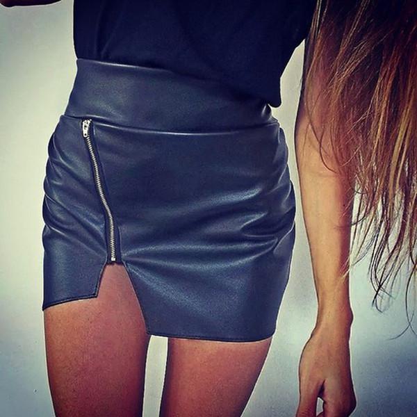 Sexy Women Bodycon Skirt Top Quality PU Leather Skirt Ladies Mini Short Side Split Zip Black Sexy KH820070