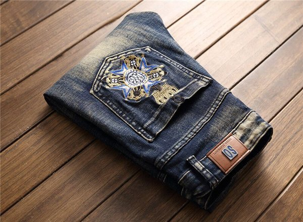 POT Autumn and Winter New hole Men's Jeans Retro Embroidery Badge stretch Slim feet men's jeans 28-38 LS-65