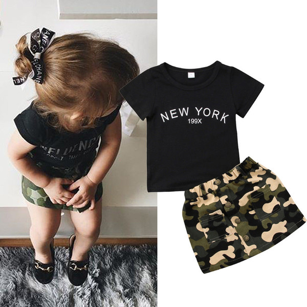 Black T-shirt camo A-Line skirt kid baby girls outfit fashion children letter print dress clothes toddler summer boutique 1-6Y