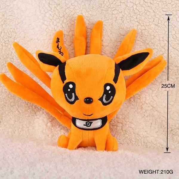 25cm NEW Japan Anime Naruto Hatake Kakashi Nine tail fox Dolls Pillow Plush Stuffed Toys Kids Gift Christmas