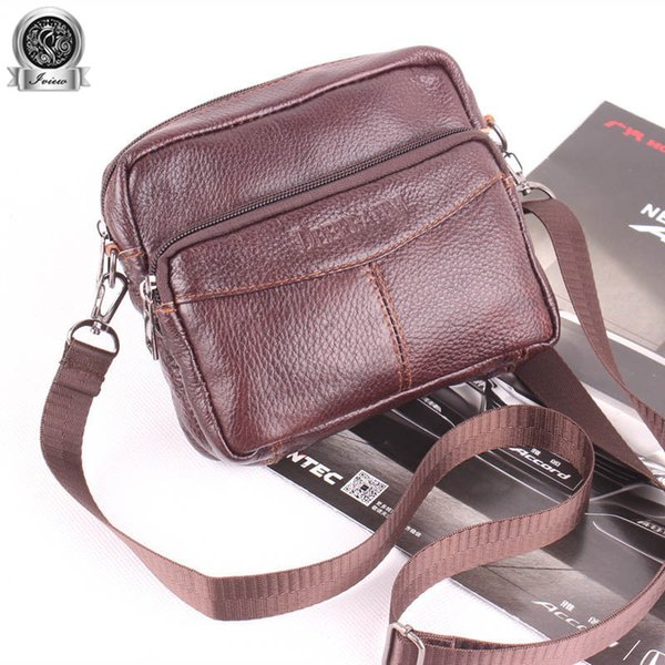 Functional Waist Bag Leather Flap Men's Messenger Bag Men's Cross Body Mini Casual Male's Coin Purse Charge Pocket